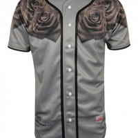 Sik Silk Baseball Jersey Grey Rose (Sik Silk Clothing) (T-Shirts) TS2 Menswear