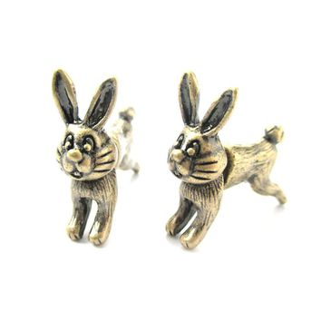 Fake Gauge Earrings: Cute Bunny Rabbit Animal Shaped Plug Earrings in Brass