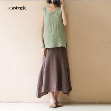 Genuine runback 2018 Summer Green Tank Top Solid Loose Cotton Linen O-neck Sleeveless Chinese Vintage Style Tops