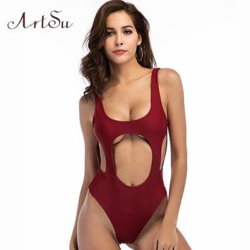 ArtSu Sexy Cut Out Women Bodysuit 2018 Summer Overalls Backless Body Beach Elastic Bodycon Jumpsuit Solid Slim Leotard ASJU30351