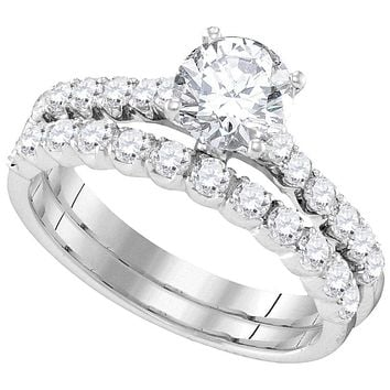 14kt White Gold Women's Round Diamond Bridal Wedding Engagement Ring Band Set 2-1/5 Cttw - FREE Shipping (US/CAN)