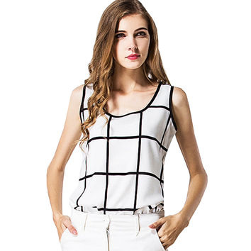 Checkered Sleeveless Chiffon Tank Top
