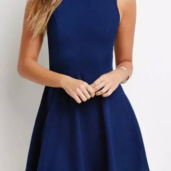 Navy Blue Sleeveless Pleated Mini Dress