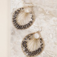 Drop Oval Beaded Earring, Black/Gold