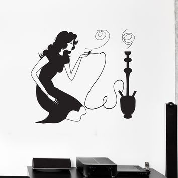 Wall Decal Woman Smoking Hookah Shisha Smoke Arabic Cafe Vinyl Stickers Unique Gift (ig2857)