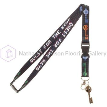 Quest for the Keys Lanyard, Ready Player One Breakaway Keychain with Snap, Collectible Sticker Rubber Key Charm