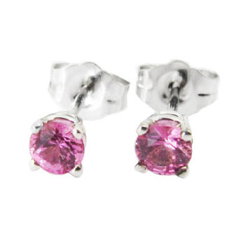 Pink Sapphire Stud Earrings 3.5 mm Studs Gemstone 14K White Gold Earrings Bridesmaid Gift Wedding Jewelry Anniversary Gift