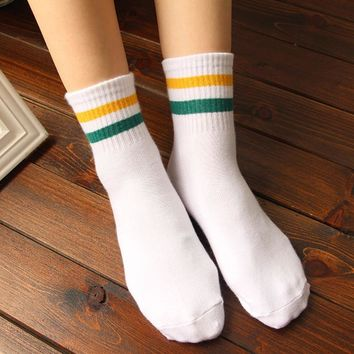 2018 Rainbow Women Unisex Cotton Ankle Socks Classic Stripe Casual Socks Fashion Female Retro Socks Popular 6 Color Dropshipping