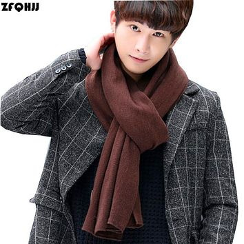 ZFQHJJ 2017 New Autumn Winter Mens Knit Scarf Cotton Acrylic Large Long Fashion Solid Warm Scarves Casual Shawl Wraps 200x30cm