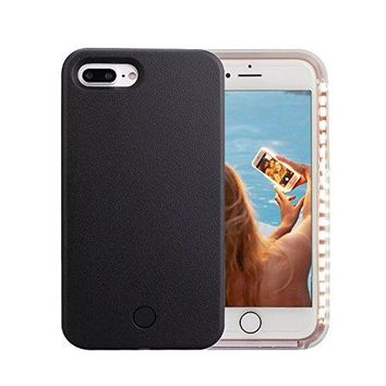 iPhone 7 Plus Case, Wellerly LED Illuminated Selfie Light Cell Phone Case Cover [Rechargeable] Light Up Luminous Selfie Flashlight Case for iPhone 7 Plus 5.5inch (Black)