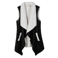 Open Front Faux Fur Suede Vest with Pockets (CLEARANCE) (CLEARANCE)