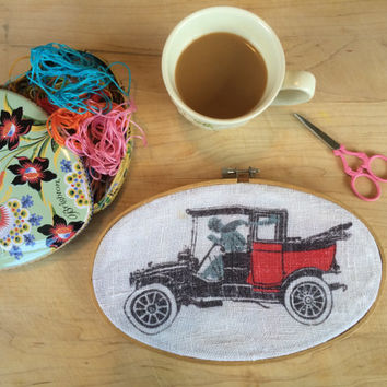 Hoop Art  with Vintage Linen Tea Towel of an Old Fashion Car Vintage Hoop