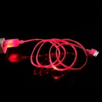Generic Mokingtop Fashion New Visible Color LED USB Sync Data Charger Cable for iPhone 4G 4S ipad 2 3 (Hot Pink)