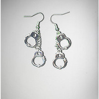 Silver Handcuffs on Wire Dangle Earrings - Spencer's