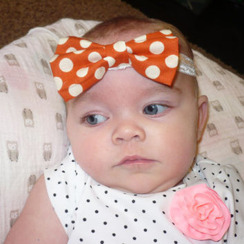 Baby Bow Headband, Bows, Elastic Headband, Polka Dot Headband, Kids Headband, Hair Bands Headbands Polka Dot Bow Elastic Goodtreasures123