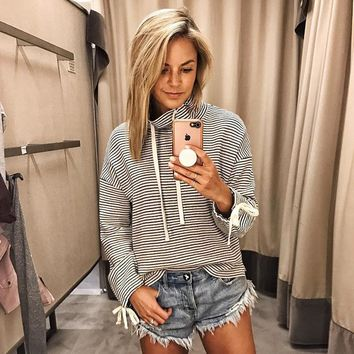 Hot fashion loose hit color long sleeve striped women's clothing [362176446493]