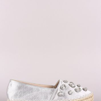 Liliana Jeweled Embellished Satin Espadrille Loafer Flat
