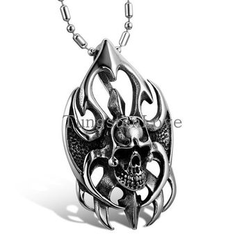 Vintage Men Jewelry Cool Silver Stainless Steel Flame Skull Pendant Men Necklace Fashion Jewelry for Men 2015