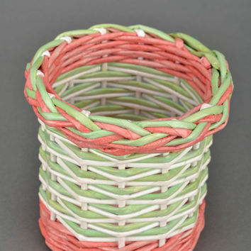 Handmade basket woven of paper rod for hair combs creative original unique gift