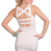 White Strap Cross Back Design Sexy Dress