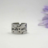 Name Ring - Personalize Name Ring - Personalized Ring - Handstamped Ring - Custom Ring - Adjustable Ring - Girlfriend Gift - Gift Under 10