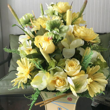 Best silk floral centerpiece arrangements products on wanelo yellow flower arrangement floral mothers day gift floral of mightylinksfo