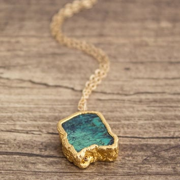 Turquoise Pendant Gold Filled Necklace