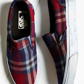 Vans Overwashed Plaid Slip-On Shoe