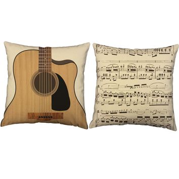 Guitar Instrument Throw Pillows