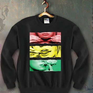 Sexy Girl Rolling a Blunt Rasta Colors Unisex Crewneck Funny and Music