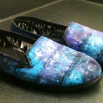 Galaxy Shoes Toms Style Vans Galaxy Clothings Painted Toms Hand Painted Shoes Custom Shoes Galaxy Slip On Shoes Blue and Purple Galaxy Toms