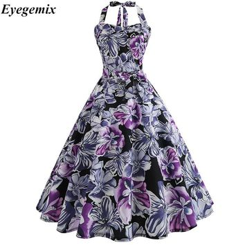Summer Dress Large Size Print Dress Women Punk Strapless Halter Party Dresses Bowknot Self Gothic Dress Clothing Swing 1950s 60s