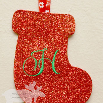Stocking Ornament / Holiday Ornament / Glitter Ornament / Personalized Ornament / Monogrammed Ornament / Christmas Ornament / Red Glitter