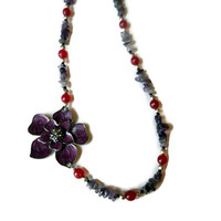 Aysemmetrical Purple and Magenta Floral Beaded Necklace with Flower Toggle Clasp