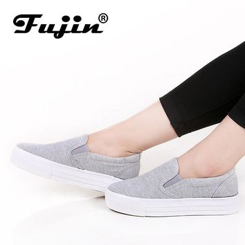 Womens 3cm platform thick sole casual canvas shoes