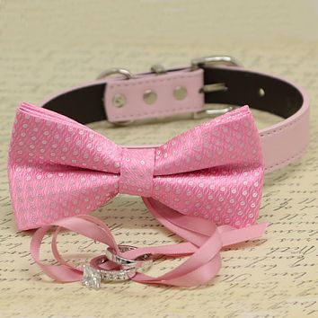 Pink Polka Dots Dog Bow Tie Collar, Ring Bearer, Pet Wedding, Proposal, Will you Marry me?
