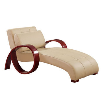Global Furniture USA R963 Leather Chaise Lounge in Cappuccino