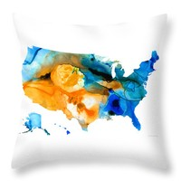 "United States Map - America Map 9 - By Sharon Cummings Throw Pillow 14"" x 14"""