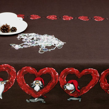 Christmas Tablecloth dark brown red hearts gnomes Elf Tomten holiday decor , table runner , curtains , pillow covers available , great GIFT