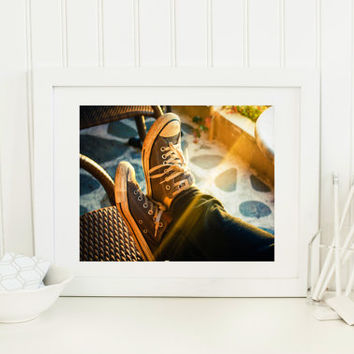 Instant digital download, fine art photography, sunshine, sneakers, sunset printable, golden hour, orange, sun flare, wall art home decor