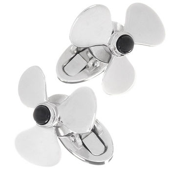 Spinning Propeller Cufflinks with Onyx Centers