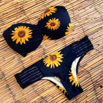 Day-First™ Sunflower patterned bikinis sexy bra swimsuit