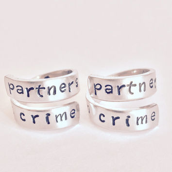 Partners In Crime Handcuffs Inside Spiral Rings Set - Hand Stamped - Best Friends Gift - Aluminum Hand Stamped