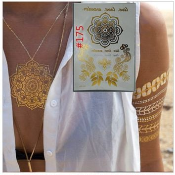 3pcs Tattoos flash gold metallic henna fake tatoo arabic