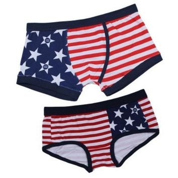Us Flag Pattern Couple Lovers New Lingerie Underwear Panties Briefs Underpants Set