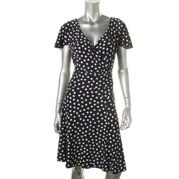 Lauren Ralph Lauren Womens Loriana Matte Jersey Polka Dot Cocktail Dress
