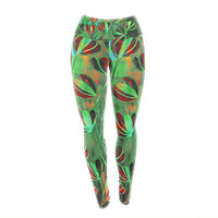 "Ebi Emporium ""Efflorescence - Red Green"" Lime Crimson Yoga Leggings"