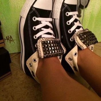 ONETOW Custom Gun Metal Studded Black Converse All Star High Tops - Chuck Taylors ALL SIZES &
