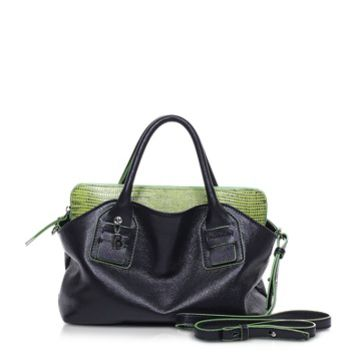 Francesco Biasia Designer Handbags Vendome Medium Black and Green Leather Tote