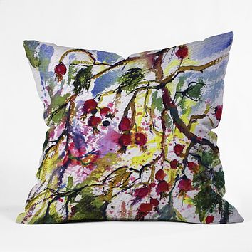Ginette Fine Art Rose Hips Watercolor Ginette Throw Pillow